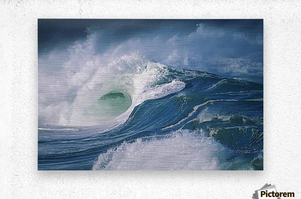 Turbulent Shorebreak Waves With Whitewash.  Metal print