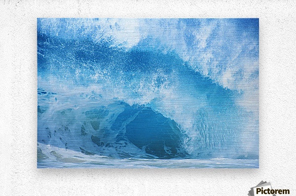 Closeup Of Crashing, Blue Wave  Metal print