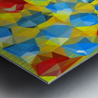 geometric polygon abstract pattern yellow blue red Metal print
