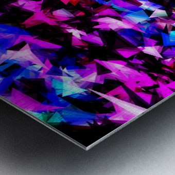 psychedelic geometric triangle polygon abstract pattern in pink blue black Metal print
