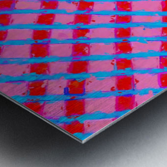 line pattern painting abstract background in pink red blue Impression metal