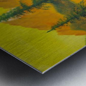 Yellow sky- snow capped mountains. Metal print
