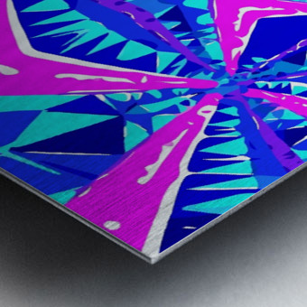 psychedelic geometric abstract pattern background in blue pink purple Metal print