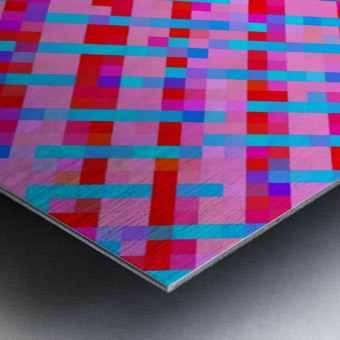 geometric pixel square pattern abstract background in pink blue red Metal print