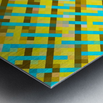 geometric pixel square pattern abstract background in yellow blue brown Metal print