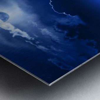 Fantasy Moon and Clouds over water Metal print