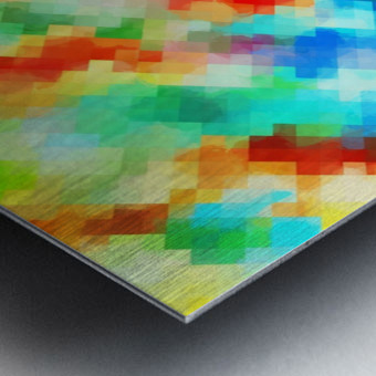 psychedelic geometric pixel abstract pattern in blue green red orange Metal print