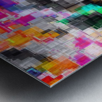 psychedelic geometric square pixel pattern abstract in orange green pink blue Metal print