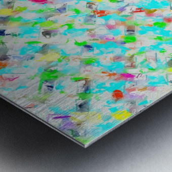 splash painting texture abstract background in blue yellow green red pink Metal print