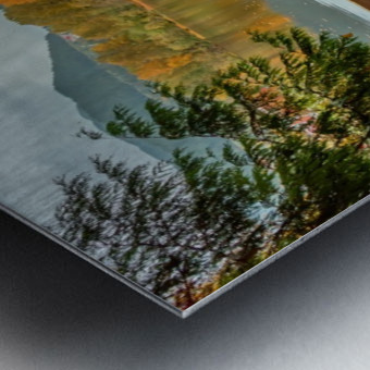 Wooden hedge blocks, falling autumn leaves, the water surface of the pond Metal print