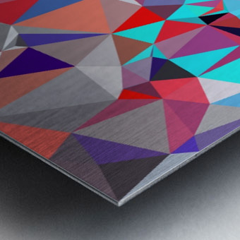 geometric triangle polygon pattern abstract background in red blue purple Metal print