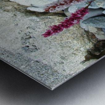 Red Flowers in Rocks Metal print