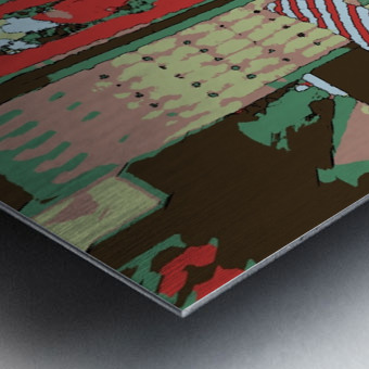 The Striped Sofa -- Red & Verdigris Metal print