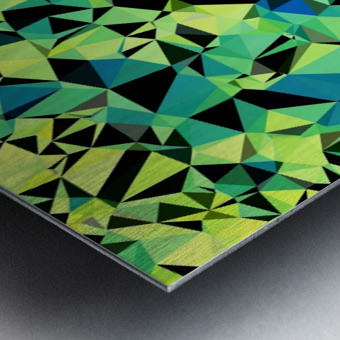 geometric triangle pattern abstract in green blue black Metal print