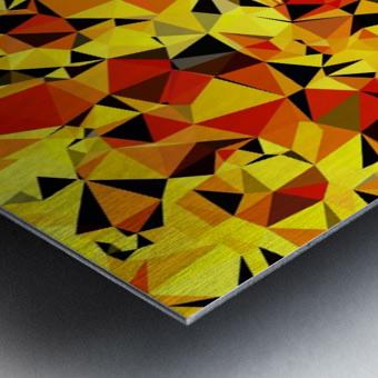 geometric triangle pattern abstract in orange yellow red Metal print