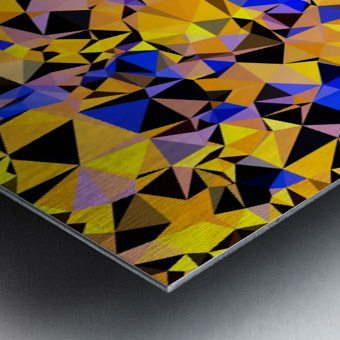 geometric triangle pattern abstract in orange blue yellow Metal print