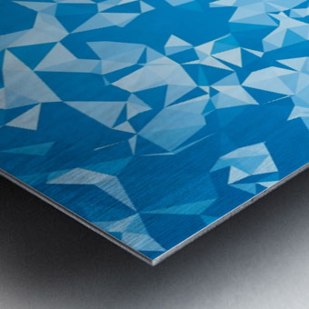 geometric triangle pattern abstract in blue Metal print