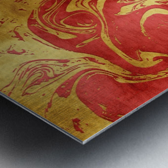 Red Dragon Marble Metal print