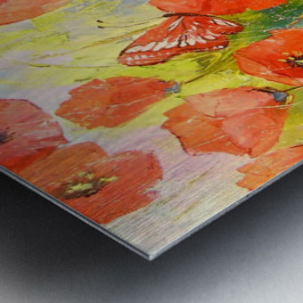 Poppies and butterflies Metal print