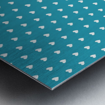 Light Sea Green Heart Shape Pattern Metal print