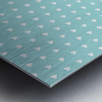 Kids Green Blush Heart Shape Pattern Metal print