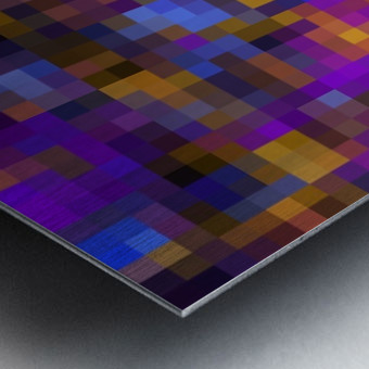 geometric square pixel pattern abstract background in blue purple yellow Metal print