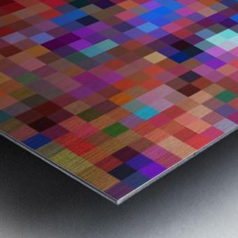 geometric square pixel pattern abstract background in pink blue orange purple Metal print
