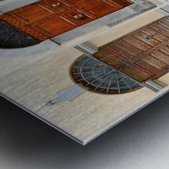 Italian Wooden Doors Collage Metal print