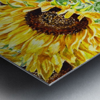 The Filed Of Watercolor Sunflowers Pattern Metal print