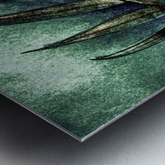 GREEN METALLIC PALM TREE LEAF TROPICAL DESIGN Metal print