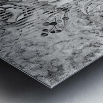 Shades of grey floral abstract  Metal print