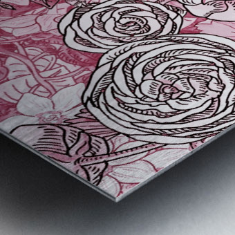 Watercolor Botanical Flowers Garden Pink Flowerbed V Metal print