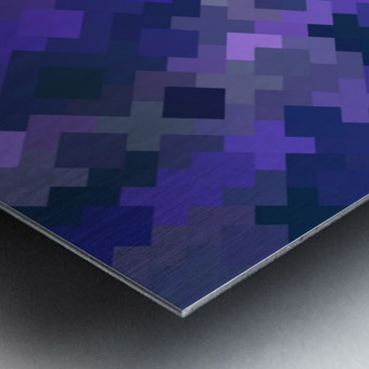 geometric square pixel pattern abstract in purple Metal print