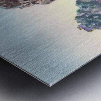 Seascape Harbor Rocky Shore Watercolor Painting Metal print
