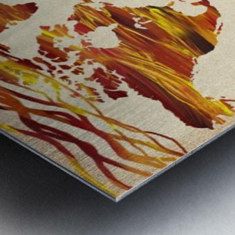 Watercolor Silhouette World Map Brown Beige Waves  Metal print