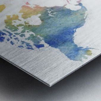 Watercolor Silhouette World Map Rainbow Sea Metal print