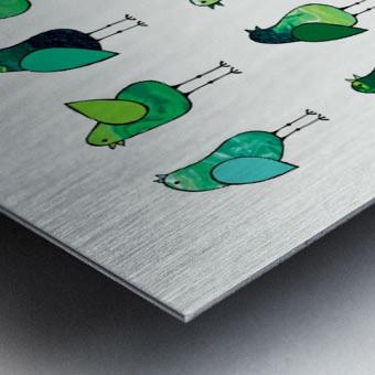 Gossip Birds Green Metal print