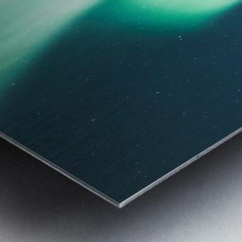 Aurora Borealis Over The Mountain Metal print