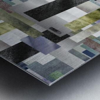 Gray Geometry Watercolor Geometrics Decorative Blocks XIV Metal print