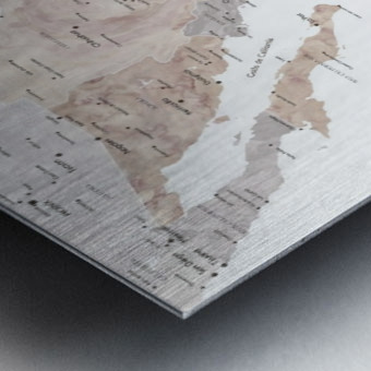 Detailed map of Mexico in neutral watercolor Metal print