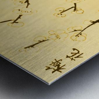 Plum Blossom Twig - Yellow Metal print