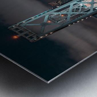 San Francisco Skyline at Night With The Bay Bridge Metal print