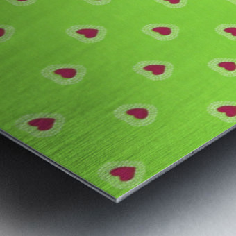 Hearts - Lime - Red Metal print