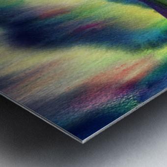 Aurora Borealis Magic Reflections Northern Lake Lights Watercolor Metal print