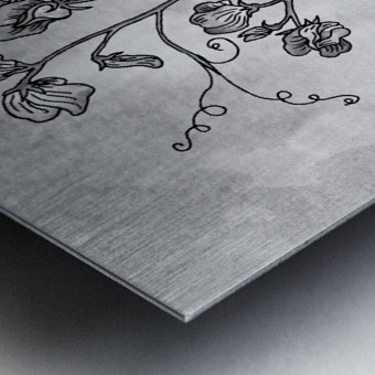Sweet Pea Simple Gray Botanical Flower On Watercolor Marble  Metal print