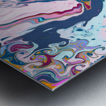 Baby Blue and Pink Paint Pour Metal print