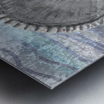 Silver Gray Seashell On Ocean Shore Waves And Rocks IV Metal print