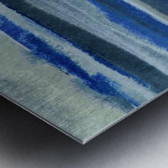 Ocean And Sea Beach Coastal Art Organic Watercolor Abstract Lines III Metal print