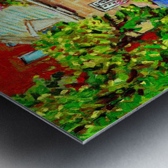LE JARDIN NELSON OLD MONTREAL RESTAURANT SUMMER STREET SCENE Metal print