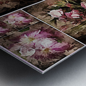 Vintage Floral Imaginings Collage Metal print